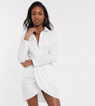 Asos Tall ASOS DESIGN Tall twist front wrap shirt dress in white