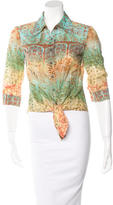 David Meister Printed Button-Up Top w/ Tags
