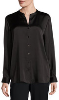 Eileen Fisher Silk Mandarin-Collar Shirt, Black