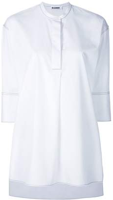 Jil Sander topstitch cropped sleeve collarless shirt
