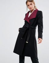 Ted Baker Afina Wrap Coat with Contrast Lapel