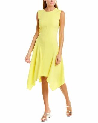 Vince Camuto Womens Sleeveless Satin Back Texture Asymmetrical Hem Dress Blazing Yellow 0