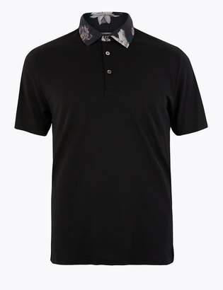 Marks and Spencer Supima Cotton Floral Collar Polo Shirt