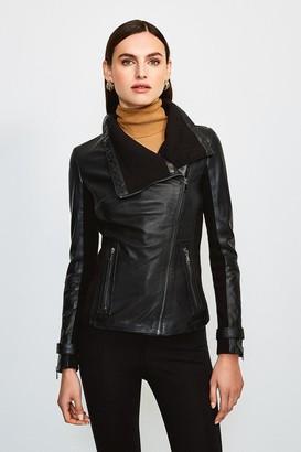 Karen Millen Leather and Knit Envelope Neck Biker Jacket