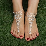San Tokra 2 Pieces Rhinestone Foot Jewelry Barefoot Sandals Bridemaids Beach Wedding Jewelry Toe Ring Anklet