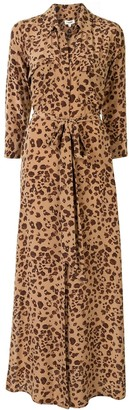 L'Agence Leopard Print Maxi Shirt Dress