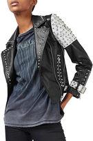Topshop Studded Leather Biker Jacket