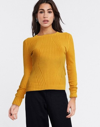 Only natalie long sleeve rib top in gold