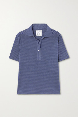 Giuliva Heritage Collection The Daphne Striped Cotton-pique Polo Shirt - Blue