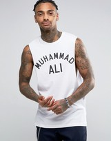 Asos Muhammed Ali Sleeveless T-Shirt With Dropped Armhole In White