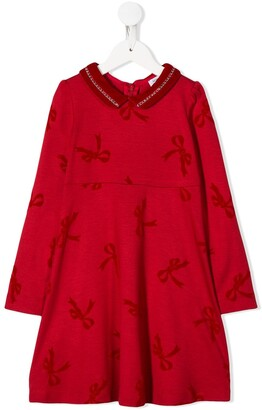 MonnaLisa flocked bow dress