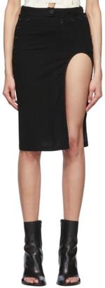 Ann Demeulemeester Black Wool Open Leg Miniskirt