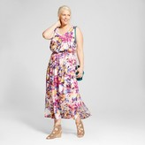 Ava & Viv Women's Plus Size Printed Easy Waist Maxi Dress