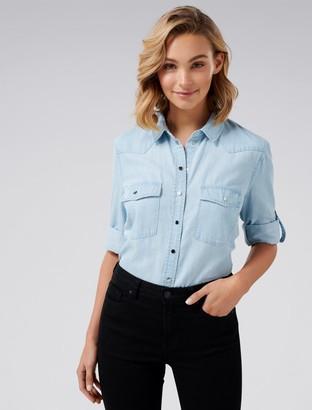 Forever New Arielle Western Denim Shirt - Chambray Blue - 4