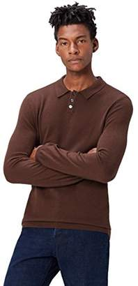 find. Men's Polo Shirt with Merino Wool and Half Collar,Large