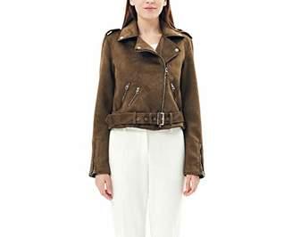 Charis Allure Women's Faux Suede Long Sleeve Zipper Short Moto Jacket L