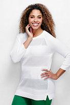 Classic Women's Plus Size Supima 3/4 Pointelle Sweater-White