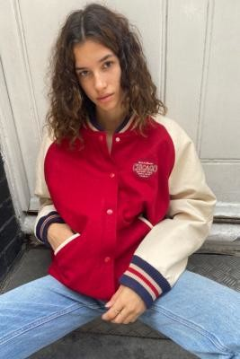 Urban Outfitters PU Chicago Varsity Jacket - Red XS at