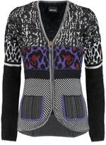 Just Cavalli Angora-paneled jacquard-knit cardigan
