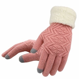 Anywow Womens Knit Touch Screen Gloves Thick Winter Warm Knit Mitten Elegant Fleece Lining Gloves with Roll Up Cuffs