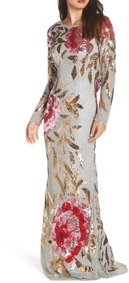 Mac Duggal Long Sleeve Sequin Column Gown