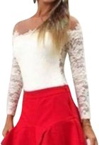 uxcell Ladies Pullover Mesh Panel Semi Sheer Long Sleeves Lace Tops