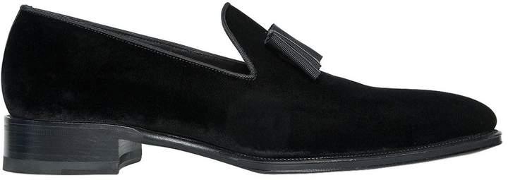 DSQUARED2 Cotton Velvet Loafers W/ Grosgrain Bow