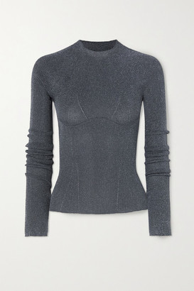 Lanvin Metallic Ribbed-knit Sweater - Gray