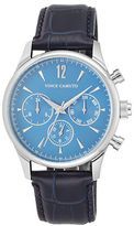 Vince Camuto Stainless Steel Leather Strap Chronograph