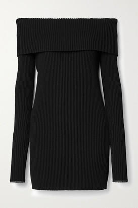 Proenza Schouler Off-the-shoulder Ribbed-knit Sweater - Black