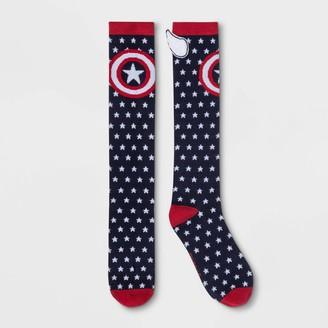 Marvel Women' Captain America Knee High ock - Navy 4-10