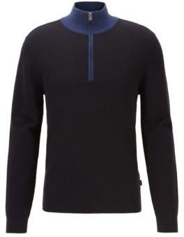 BOSS Quarter-zip sweater in cotton and virgin wool