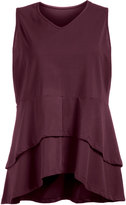 Isolde Roth Plus Size Cotton top with tiered hemline