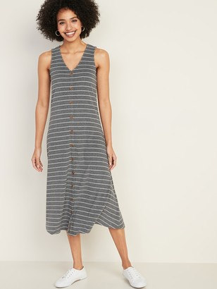 Old Navy Sleeveless Button-Front Rib-Knit Midi Dress for Women