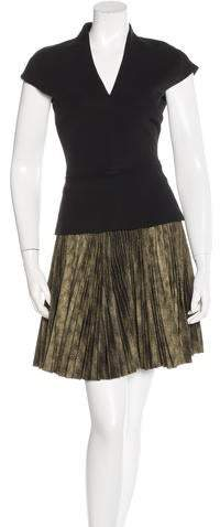 Victoria Beckham Pleated V-Neck Dress