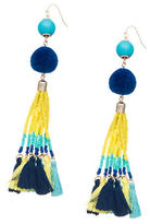 Robert Rose Pompom and Fringe Accented Drop Earrings