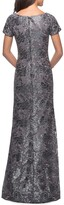 Thumbnail for your product : La Femme Short-Sleeve Metallic Lace Gown