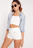 Missguided High Waisted Zip Denim Shorts White