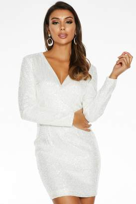 Quiz White Sequin Wrap Front Long Sleeve Dress