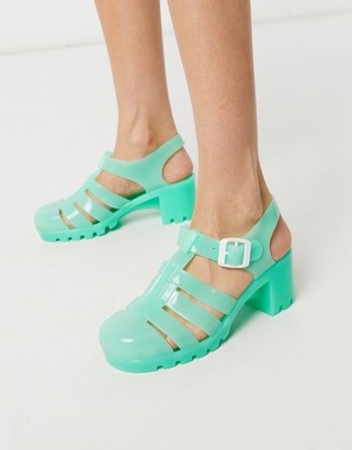 London Rebel heeled jelly shoes in mint