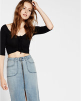 Express one eleven ruched front cropped tee