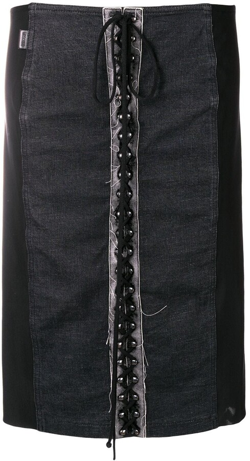 Moschino Pre-Owned 1990's lace-up straight skirt