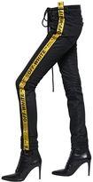 Off-White Skinny Tie Down Strap Cotton Denim Jeans