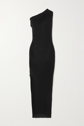 Rick Owens One-shoulder Draped Ribbed Wool Dress - Black