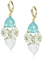 "Anne Klein St. Barths"" Gold-Tone Green and Crystal Drama Cluster Drop Earrings"