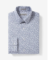 Express fitted micro floral print dress shirt