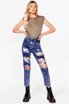 Nasty Gal Womens High-Waisted Distressed Jeans - Acid Wash Dark Blue