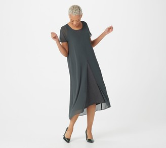 Logo by Lori Goldstein Rayon 230 Tank Dress with Chiffon Overlay
