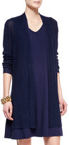 Eileen Fisher Ribbed Washable Organic Linen Cardigan, Midnight, Plus Size