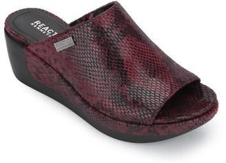 Kenneth Cole Pepea Snakeskin Embossed Platform Slide Sandal